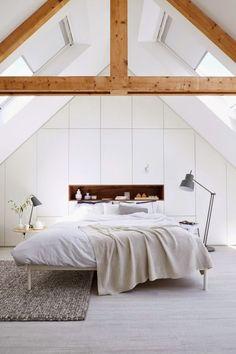 81 Elegant and Minimalist White Bedroom Design Ideas - Decoralink Attic Bedrooms, Bedroom Loft, Dream Bedroom, Bedroom Decor, Bedroom Ideas, Master Bedroom, Eaves Bedroom, Bedroom Small, Bedroom Designs