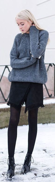 Winter Outfit Style: Ellen Claesson is wearing a grey knit jumper and black skirt from Zara and the boots are from Mango... | Style Inspiration