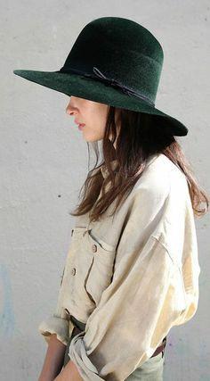 Green Large Velvety Hat