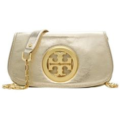 Pre-owned Gold Tory Burch Logo Clutch featuring polyvore fashion bags handbags clutches gold logo handbags gold purse tory burch purse tory burch tory burch clutches