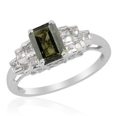 Liquidation Channel - Affordable Bohemian Moldavite (Oct 1.25 Ct), White Topaz Ring in Platinum Overlay Sterling Silver Nickel Free (Size 9) TGW 2.11 cts.