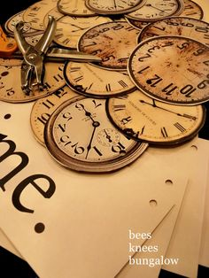 paper clock faces garland for the store?