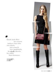 Küçük siyah elbise her sezonun kraliçesi. İster ofise  ister davete, ister çizmeyle ister topuklularla,bu siyah elbiseler her zaman hayat kurtarıyor.    Siyah elbise Fabrika,  çizme NineWest,  çanta Desa.