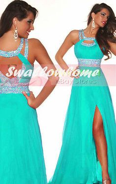 Turquoise Long Bridesmaid Formal Gown Ball Party Cocktail Evening Prom Dress