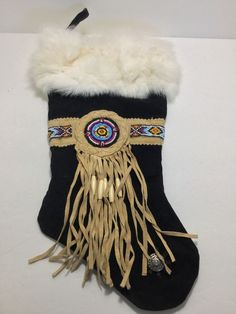 Tansmith 3B West Beaded Suede & Rabbit Fur Christmas Stocking