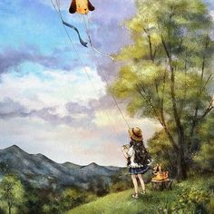 높이 더 높이 (http://grafolio.com/illustration/166621) #일러스트 #일러스트레이션 #연날리기 #소녀 #하늘 #동심 #illust #illustration #drawing #sketch #girl #sky #forest #clouds
