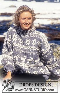 DROPS Sweater in Karisma Superwash with stars and reindeer - Free pattern by DROPS Design