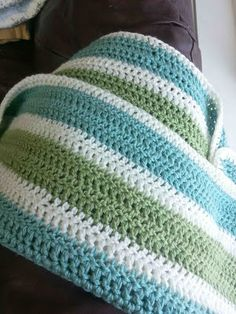 Made by Me. Shared with you.: Striped Crochet Afghan. Great colour combo and nice different but easy pattern