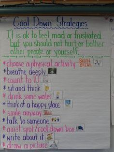 Confessions of a Primary Teacher: Cool Down Strategies Anchor Chart. Great for whole group lesson so students learn their choices ahead of time.