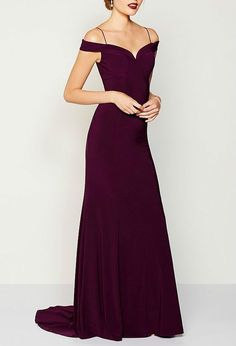 Off-the-shoulder Burgundy Gown, Sexy Burgundy Prom Dresses, Mermaid