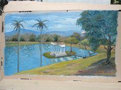 Quinta da Boa Vista pintura a óleo sobre papelão
