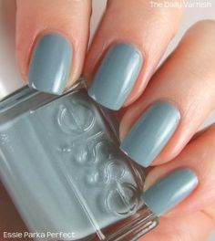 Essie Mind Your Mittens! This is absolutely one of my favorite colors,  from the way it looks on the monitor anyway, I love unique blue green grey colors like this.  Can't wait to see it in person.  WILL be residing on my nails this winter!