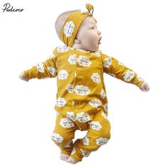 >> Click to Buy << 2 Pcs Newborn Baby boys Girls Cute Clouds Romper+Headband Set Infant Babies Kids Cloud Rompers one-pieces Outfits Kids Clothing #Affiliate
