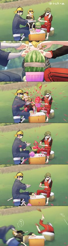 埋め込み画像 Touken Ranbu exploding watermelon challenge >>> what a late reactions