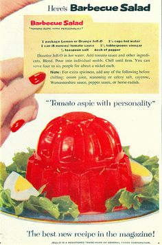 1954 Barbeque Salad (Tomato Aspic) recipe. #vintage #1950s #food
