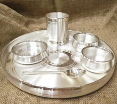 999 Pure Silver Dinner Set / Thali Set - Ashapura Pattern with BIS Hallmark – SilverStore. Silver Lamp, Silver Trays, Silver Coins, Silver Pooja Items, Vase Deco, Vases, Silver Furniture, Silver Ornaments, Silver Prices