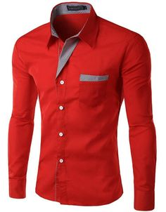 Mens Fashion Color Slim Casual Business Long Sleeve Shirt Fit Print Blouse Top