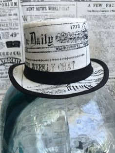 Available on etsy.com/shop/arcaniumdesign : Steampunk Mini Top Hat Fascinator - Newsprint