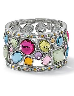 The bracelet is gorgeous! We love the multi-shapes, sizes and cuts of colorful crystal stones.