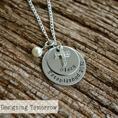 Personalized Anniversary Necklace - STAINLESS STEEL PENDANT - Established with Cross Charm and Bead