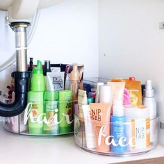 HOW TO ORGANIZE UNDER THE BATHROOM SINK - Under bathroom sink organization ideas will help you finally organize the bathroom cabinet under sink using divided lazy susans, and other clever under bathroom sink organizer products.