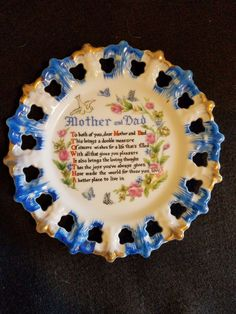 Vintage Mother and Dad Collectible Plate 1960s era Made in Japan Free Shipping