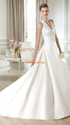 Inverted Triangle Lace Zipper Wedding Dresses 2014