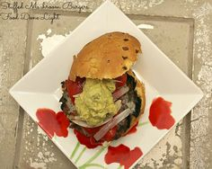 Stuffed Portabella Mushroom Burgers with Guacamole & Roasted Red ...