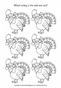 Turkey - Odd One Out Lots of FREE printable activities for all holidays and seasons. Great site!