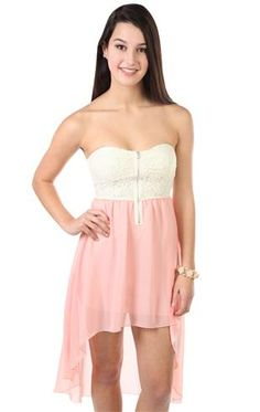 strapless short dress with lace bodice and high low hemline