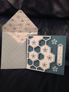 handmade card with matching envelope ... monochromatic ... hexagon pattern created with punched hexagons on top of hexagon die cut grid ... delightful! ... Stampin'Up!