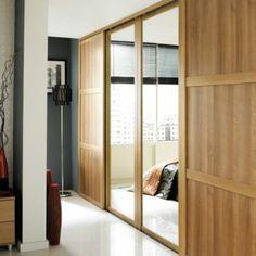 B&Q Mirrored Sliding Wall-to-Wall Wardrobe Door Oak Effect (W)762mm, 0000003830994
