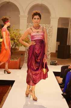 Plum silk cowl dress with back tie-ups. INR 7,800
