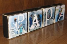 Personalized Father's Day Gift- Photo Blocks- PAPA set of FOUR letter blocks