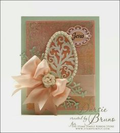 Easter card using JustRite Papercraft Easter Blessings with @Spellbinders Filigree Egg, Corner Sprigs and Frame Two