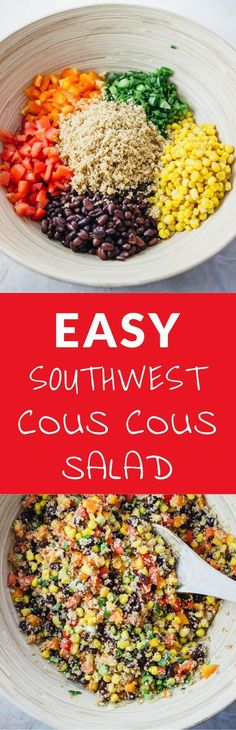 This savory southwest cous cous salad is super easy and fast to make with only 2 steps in the recipe. It's filled with delicious flavors such as tomatoes, scallions, cayenne, garlic, and lemon juice. This can be made ahead of time, and is a great party pleaser!