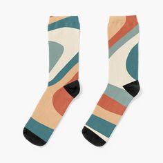 Retro abstract Aesthetic' Socks by My Socks, Crew Socks, Wedding Gifts For Groom, Designer Socks, Retro Aesthetic, Free Stickers, Carrot, Layering, Zodiac