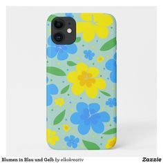 Blumen in Blau und Gelb iPhone 11 Hülle Apple Iphone, Smartphone, Phone Cases, Colorful Flowers, Iphone Case Covers, Business Cards, Yellow, Blue, Phone Case