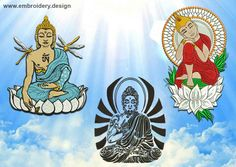Meditating Buddhas embroidery designs PACK of 3 - downloadable by EmbroSoft on Etsy