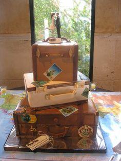 Custom  Suitcase Wedding Cake