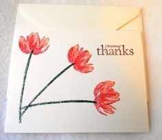 Floral thank you note white card with pink by DawnFrostDesigns, $1.75