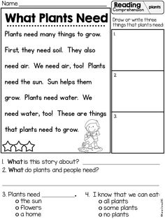 Plants reading comprehension! In this Plants unit for K/1! Two week science, math and literacy unit with whole group, center work, and independent practice! $