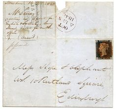 1840 cover with 1d black pl 2 with RARE double-lined Stonehaven MC in red ink. | eBay