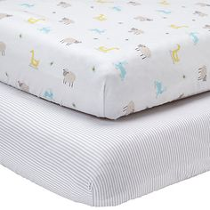 Buy John Lewis Farmyard and Stripe Fitted Cotbed Sheet, Pack of 2, White/Grey Online at johnlewis.com