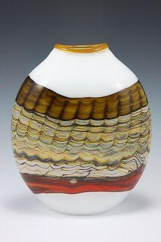 Large Sargasso Wide Pouch: Danielle Blade, Stephen Gartner: Art Glass Vase | Artful Home