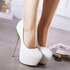 Women's Shoes Synthetic Stiletto Heel Round Toe Heels Dress Black / Blue / Pink / White 2016 - €44.09