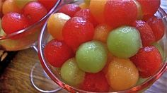 Drunk Melon Balls...(roughly 7½ cups of melon balls), 1 small, seedless watermelon, 1 cantaloupe, 1 honey dew melon, 1 cup pineapple juice, 1 cup raspberry vodka (or your favorite fruit flavored vodka), ½ cup triple sec...