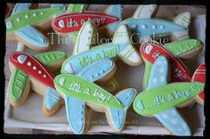Baby Airplane Shortbread Sugar Cookie Favors by TheTailoredCookie, $36.00
