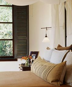 Decorating Ideas: Beautiful Neutral Bedrooms - Traditional Home® Indoor Shutters, Wood Shutters, Interior Decorating, Interior Design, Decorating Ideas, Craft Ideas, Fresh Farmhouse, Farmhouse Chic, Farmhouse Design