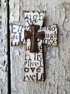 Wooden Distressed Cross with Live Laugh Love by MagnoliaMarket, $20.00